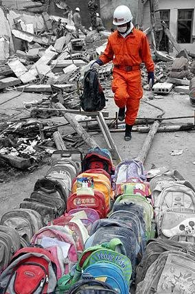 School bags gathered by rescuers after Sichuan earth quake in 2008
